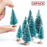 10Pack Mini Sisal Christmas Trees Snow Frost Village Pine Trees Table DIY Decor