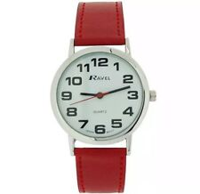 Ravel Mens Ladies Bold BIG Number Watch with BIG Clear Face and Red Strap