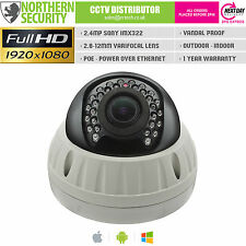 SONY IMX 2 MP 2.8-12mm 1080p POE P2P 25m vandalisme Anti Rouille DÔME IP