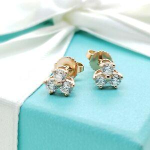 Tiffany & Co 18K 750 Rose Gold Aria Diamonds Stud Earrings RP$3800