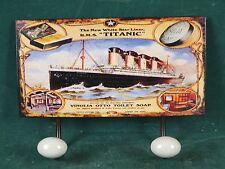 Garderobe Garderobenhaken Haken 2er auf Blechschild Schild Titanic Wandhaken