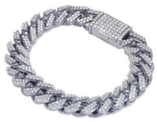 "Mens Real Diamond Miami Cuban Iced Link Chain Bracelet 10k White Gold 8.25"" 8ct"