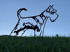 More details for schnauzer dog with tail metal garden art