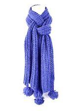 B15 Handmade Cable Knit Long Pom Pom Cobalt Royal Blue Long Wrap Scarf Boutique