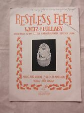 Vintage Sheet Music Restless Feet by Dr. Mattson Signed 1938 GC