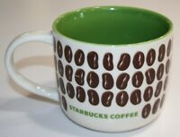 2009 Starbucks Nouvelle New Bone China White & Green Coffee Beans Coffee Mug