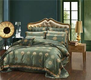 4pc 6pc 10pc European Luxury Green Silk Cotton Satin Jacquard Duvet Cover Set