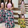Women Summer Short Sleeve Floral Printed Sundress Swing Dress Maxi Dress DZ