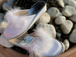 Pantofole Donna Ciabatte Sposa Axa con pelo e classica Bianca