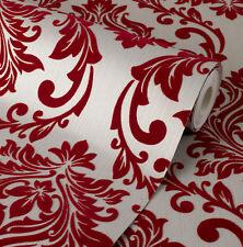 Exclusive Tuscany Velvet Flock Red/Beige Brown Damask Wallpaper (J803)