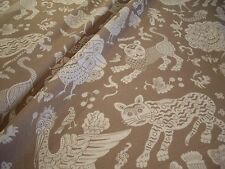 """CLARENCE HOUSE TAUPE """"BALI"""" WHIMSICAL MYTHICAL CREATURES LINEN PRINT FABRIC!!"""