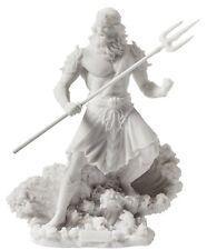 Poseidon Sculpture Standing Holding Trident On Wave White Finish Statue Figure