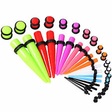 36pcs Acrylic Ear Gauge Set Mix Color Taper Plug Unique Ear Plugs Stretching Kit