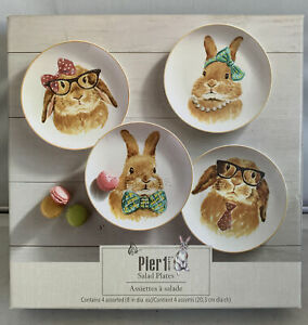 Pier 1 Imports Rabbit Faces Salad Plates. Set Of 4. Easter NIB