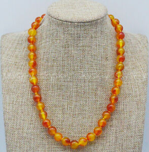 Natural 10mm Orange Multi-Color Chalcedony Round Beads Gemstone Necklace 14-36''