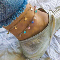 Multi-Layer Gold Ankle Bracelet Women Anklet Adjustable Chain Foot Beach Jewelry