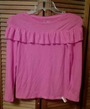New Cat & Jack Girl Pullover Top Cozy Ruffle Soft Long Sleeve Pink SMALL 6  NWT