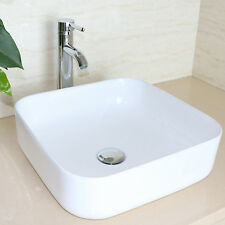 Square White Bathroom Vessel Sink Porcelain Ceramic Basin Bowl & Faucet Combo
