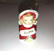 Vintage Porcelain Polish Greeting Girl Christmas Bell Ornament ~ Red Ink JAPAN