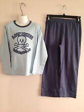 BNWT Boys Sz 8 Target Brand Skull Logo Long Style Blue Stretch PJ Pyjamas