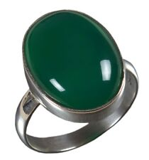 925 Solid Sterling Silver Ring Natural Green Onyx Gemstone US Size 3 to 14 JR63