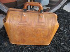 Vintage Leather Doctor Bag Aztec Design Equipment Hand Tooled Satchel Prop Dr.
