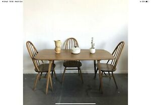 Ercol Plank Dining Table And 3 Quaker Chairs Mid Century Retro Vintage  Delivery