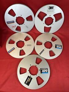 """Lot of 5 Vintage Ampex 3M Metal 1/2"""" NAB Open Reel Tape Take-Up Reels, 10.5"""""""