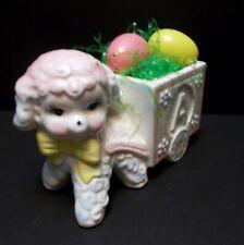 """Easter Decor Lamb Alphabet Abc Block Cart Planter Vintage 5.5"""" Tall Nursery"""