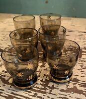 5 MCM Dark Black Glass With Gold Stars And Bottom Gold Ring Shot Glasses