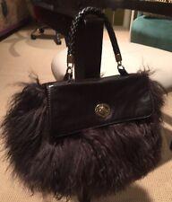 Aqua Madonna Brown Fur Mongolian Lamb & Leather Bag Handbag Purse - GORGEOUS!