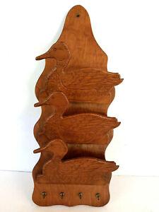 Vtg Carved Wood 3 Duck Hanging Letter Mail Holder Organizer Key Rack Rustic Farm