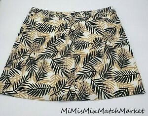 White Stag Womens Skort 12 Floral Palm Leaf Tan White & Black with White Shorts