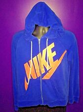 Men's Large Nike Sportswear Blue Red BIG Swoosh Check LOGO Zipper Hoodie Sweater