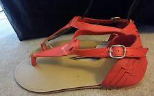 ♡♡♡ New WOMEN'S NOVO Orange Leather SANDALS FLATS SHOES US 7 OR 38 EU