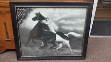 Rare Art Print Spirited Horses No.2 Jos Hoover & Son's 1900 Philly 22.5x18.5