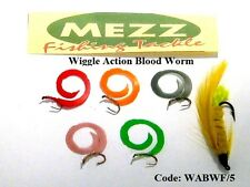 Mezz Wiggle Action Blood Worm Fly Fishing (Pack of 5)