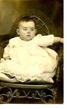 Chubby Baby in Wicker Chair-Eyelet Dress-Studio RPPC-Vintage Real Photo Postcard