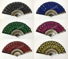 Foldable Peacock Shining Sequins Hand Fan Bead Black Fabric Decor Cloth Plastic
