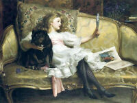 Dream-art Oil painting young beauty girl on sofa & mirror and her pet dog canvas