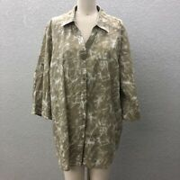Liz & Me Button Up Tunic Top Shirt Women's Plus 1X Gray 3/4 Roll Tab Sleeve