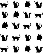 Cat Silhouette  Waterslide Nail Decals/Nail art
