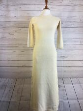 Zara Knit Maxi Dress Ivory White 3/4 Sleeve 100% Cotton Crewneck Nubby Knit Sz S