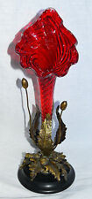 Antique European Art Nouveau Red Cranberry Swirl Gold Accented Glass Epergne
