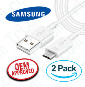 2x OEM Samsung EP-DG925 Galaxy Fast Charge Micro USB 1M Cable - White