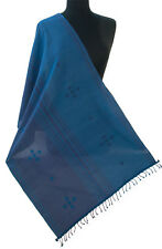 """Blue Hand Woven Cotton Shaw Navy Stripes. Ocean Colors 83"""" x 23"""" Colorful Scarf"""