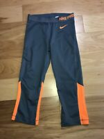 Nike Pro Women's Running Tennis Athletic 3/4 Leggings Size M Orange/Gray EUC