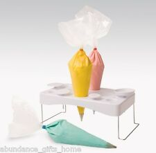 Icing Cake Decorating Bag Holder Stand w/ Piping Nail sections