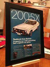 """FRAMED ORIGINAL & RARE 1977 DATSUN """"200-SX"""" AUTOMOBILE CAR PROMO AD"""
