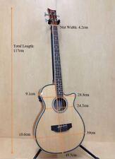 4/4 Haze FB-711BCEQ/N 4-String Electric-Acoustic Bass Guitar,EQ,Natural+Free Bag